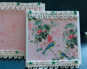 Handmade lace and gems ceramic tiles. Pair