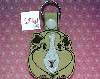 Guinea Pig Key Snap Tab Embroidery Design 4X4 size Cute Bunny