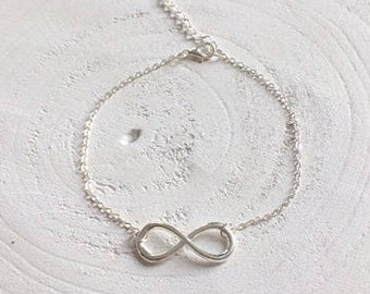 Ankle strap silver plated with infinity sign and extension chain