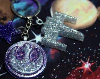 Deluxe X-Wing Rebel Logo Purple Holo Glitter Resin Keychain