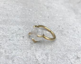 Quartz ring, Raw crystal ring, Statement ring, Chunky stone ring, Boho ring, Adjustable in size