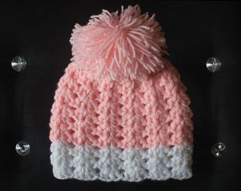 Cozy Soft Pink and White Baby Girl Crochet Hat, Baby Toddler Crochet Hat with Pompom