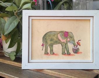 Original Illustration Art Elephant