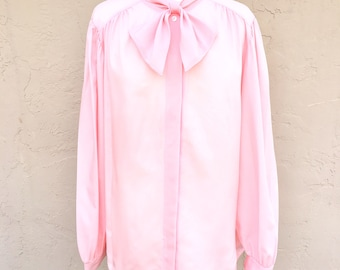 Vintage 1980s Ms Bond Blouse/ Secretary Blouse/ Vintage Shirt/ Pink Blouse/ Blouse with Bow