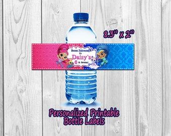 Shimmer and Shine Water Bottle Label, Shimmer Shine water label, Shimmer and Shine Printable,  Bottle Label, You Print