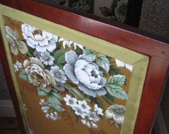 Edwardian Mahogany Folding Dressing Screen, Upholstered with Vintage Floral Fabrics