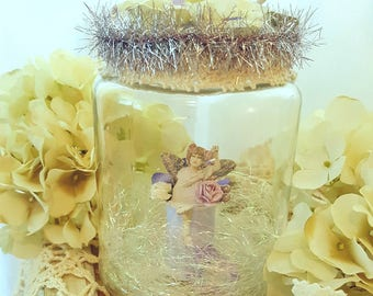 Romantic Lavender Fairy in a Glass Jar