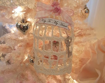 Vintage Shabby Chic Pink Birdcage Ornament Key To My Heart Romantic Crochet Birdcage With Heart And Key Sweet Valentine Ornament