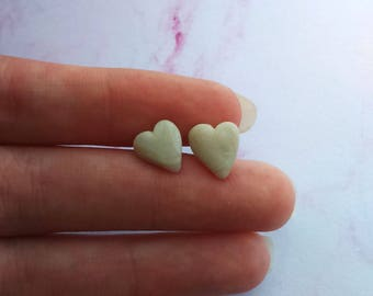 Pearl Heart/Round Stud Earrings - Polymer Clay, Heart, Love, Jewelry, Round, Ball