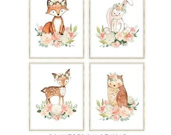 Woodland Animals Nursery Art, Woodland Nursery Girl Art, Deer Nursery Art, Woodland Animal Decor, Printable Nursery Art