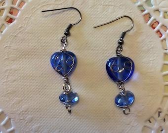 Earrings, Dangle, Blue glass heart bead