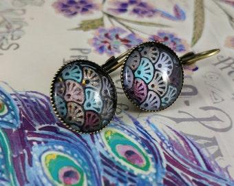 Seashell Mosiac , dangle earrings