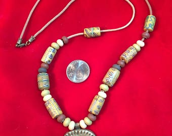 Bronze Pendant with Trade Beads on Leather Necklace