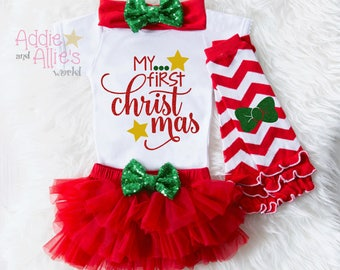 My First Christmas 2017, Baby First Christmas Bodysuit, Baby First Christmas Outfit, Baby Christmas Tutu, Baby Christmas Outfit Girl, X7RG