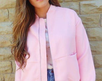 Baby Pink Bomber Jacket