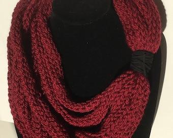 Maroon multi strand pure merino scarf