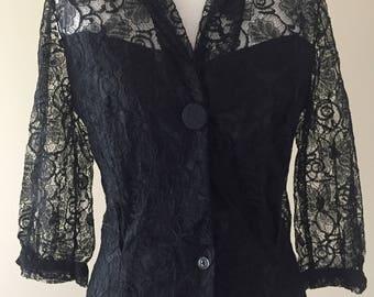 Vintage 50's Blouse, 1950's Black Lace Blouse, Sheer Lace Top Blouse, EX!