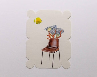 chair with fish, original paper collage
