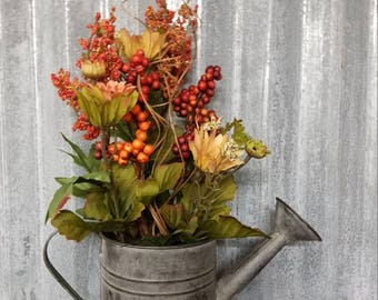 Fall floral arrangement, rustic watering can, farmhouse fall floral, wild daisy floral, autumn decor, fall arangement, fixer upper decor
