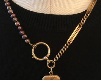 Victorian watch chain locket with garnets necklace