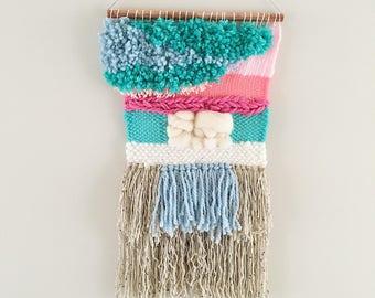 Weaving // Woven Wall Hanging // Home Decor // Sea Foam Tapestry