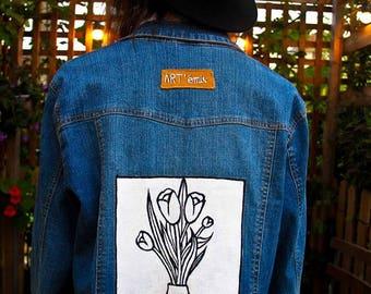 Tulips - hand painted denim jacket