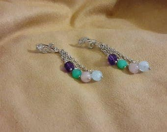 Earrings with aquamarine and Rose Quartz, Amethyst, Participantses