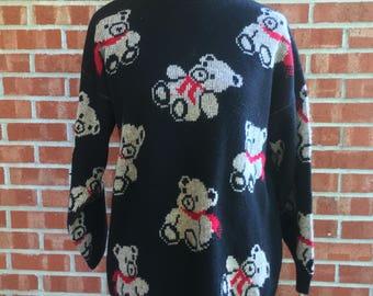 Vintage 80s Adele knitwear black teddy bear sweater