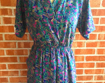 Vintage 80s Leslie Fay blue, green, and purple paisley print dress. Size 10P