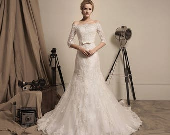 Rosa Rugosa - Selena Huan off the Shoulder 3/4 Sleeve Beaded Corded Lace A-line Gown Wedding Dress