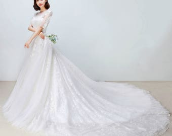 Selena Huan 1/2 Sleeves French Lace Illusion Ball Gown