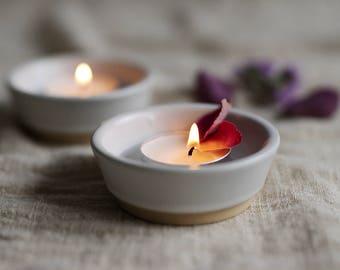 Minimalist Cylinder Glaze Ceramic Candle Holder in White | Ring Dish | Jewelry Dish
