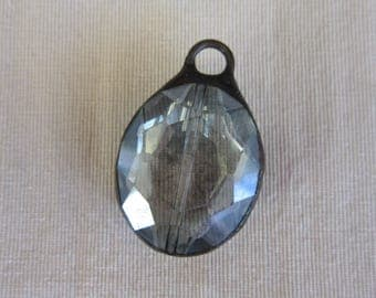 Hand Soldered Large Pale Silvery Blue Oval Crystal Pendant