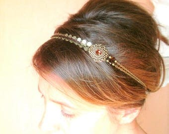 Headband hair jewelry vintage accessories and romantic swarovski crystal and bronze metal and beads.