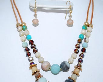 Double Strand Stone Necklace with earrings
