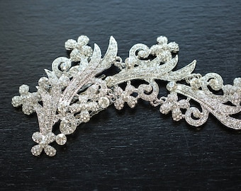 FREE SHIPPING - Silver Wedding Hair Comb, Floral Bridal Hair Comb, Wedding Headpiece, Silver Floral Bridal Side Comb, Wedding Side Comb