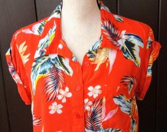 Vintage cropped hawaiian print blouse