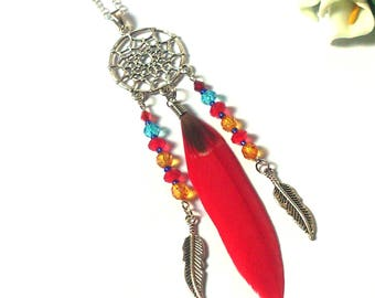 Necklace Dreamcatcher - Colorful Boho Festival Necklace - Silver Necklace - Red / Silver Feathers Pendants - Orange / Red / Beads - Ethnic