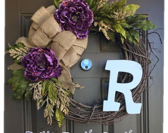 Rustic peony wreath with monogram for front door - all year wreath with initial - everyday wreath with burlap bow, front door decor, wreaths