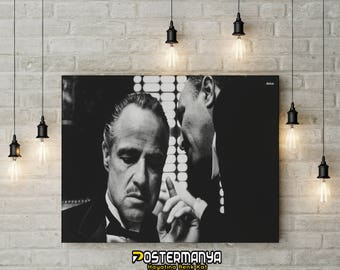 The Godfather Black White Movie Poster - Canvas Printing (High Quality - Available in many sizes) - Gifts