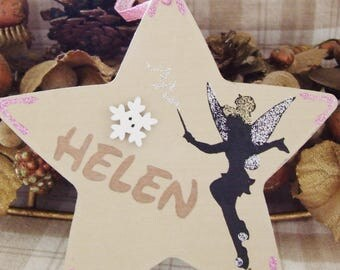 Handmade Personalised Disney Tinkerbell Fairy Tink Peter Pan Glitter Christmas Tree Decoration Star Hanging Ornament Home Decor Gift