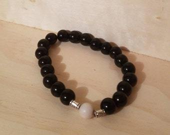 Smooth Obsidian and Jasper bracelet