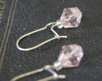 Small pink crystal earrings