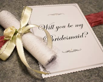 Will You Be My Bridesmaid | Asking Bridesmaids Proposal Card Scroll Invitation Invite | Bridesmaid Gift | White Ivory Cream Silver