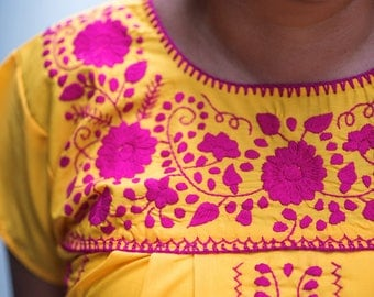 Yellow with Fuchsia flowers Embroidered Dress