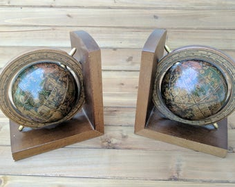 Vintage Globe Bookends | Antique Globes | 1970's Globe Bookends