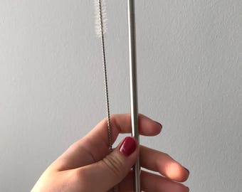 "7.75""  Stainless Steel Straw and Cleaning Brush Reusable Eco-Friendly"
