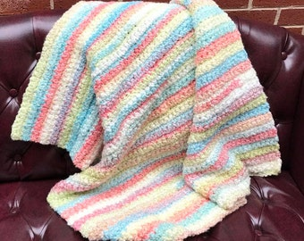 Crochet Super Soft and Cozy Baby Blanket with Stripes