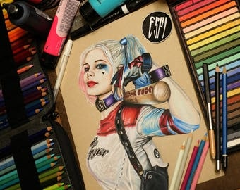 Harley Quinn:- Illustrated Print