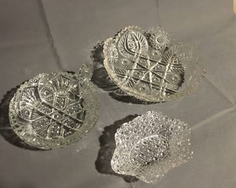 Vintage Lot of 3 Clear Glass Decorative Candy Dishes Trinket Dishes